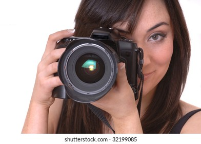 Beautiful Brunette Photographer isolated over white background