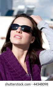 Beautiful brunette portrait enjoying a day outdoors