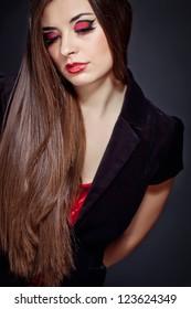 Beautiful brunette portrait on black hair