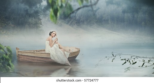 Beautiful brunette posing over beautiful romantic landscape - panoramic version
