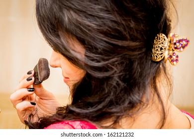 beautiful brunette puff