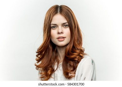 beautiful brunette in a white shirt