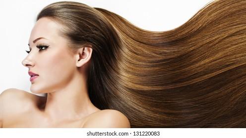 Beautiful Brunette Woman. Beauty Model Woman. Hairstyle. Woman Spa