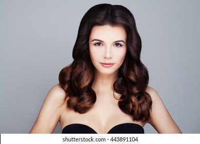Beautiful Brunette Woman with Brown Hairstyle