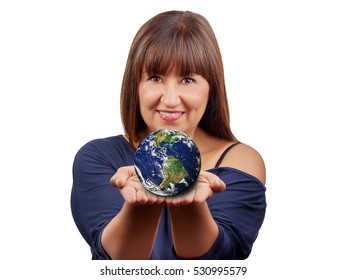 Beautiful brunette woman holding earth isolated