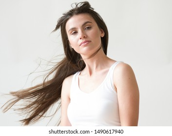 Beautiful brunette woman long hair natural portrait