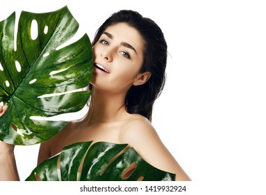 Beautiful brunette woman with palm leaf on a white background