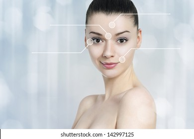 Beautiful brunette woman pointed wrinkles spots. Anti aging treatment  - concept