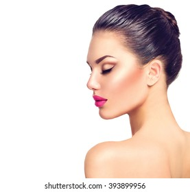 Beautiful Brunette Woman profile portrait. Beauty Luxury Makeup and sexy Pink Lips. Gorgeous Fashion Model Girl Portrait Isolated on a white background. Close eyes