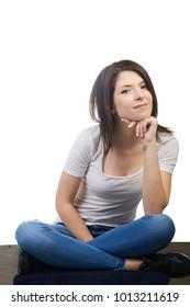 beautiful brunette woman thinking about