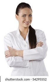 beautiful brunette woman in white gown as a medical doctor smiling in camera