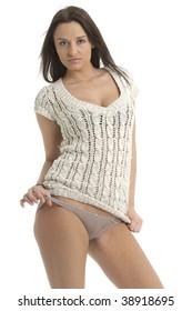 Beautiful brunette in woollen top teasing with her panties