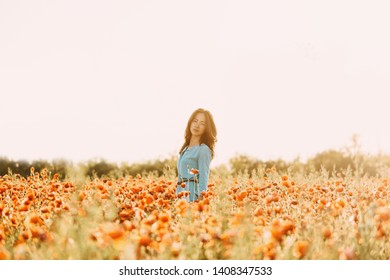 Beautiful brunette young woman with long hair walking in red poppy flower field on sunny summer day.