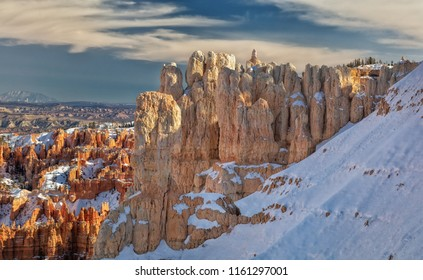 Beautiful Bryce Canyon national park with snow and a view in southern Utah.