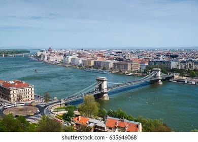 Beautiful Budapest Cityscape. Bridge through Danube. Hungary.