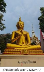 Beautiful Buddha image in Khao Takiab temple at Khao Takiab mountain (also known as Monkey mountain or Chopstick mountain), Hua Hin district, Prachuap Khiri Khan, Thailand.