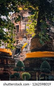 Beautiful of Buddha and Pagoda in Phra Nakhon Sri Ayuthaya ,Thailand
