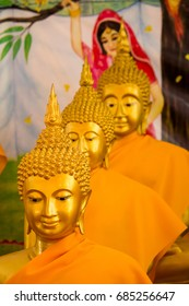 Beautiful buddha statue in Thai temple in Thailand, Golden buddhas statue, Three buddha, Buddhism in Thailand