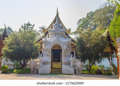 Beautiful Buddhist temple entrance gate to church at Wat Ram Poeng (Tapotaram) temple, Chiang Mai, Thailand. Wat Rampoeng is one of the most famous place for studying meditation in Chiang Mai.