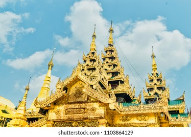 Beautiful Buddhist temples covered in gold leaf in Yangon, Myanmar