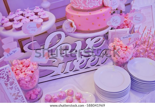 Beautiful Buffet Tables Sweet Decorations Stock Photo (Edit ...