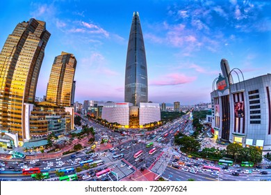 beautiful buidings and traffic at jamsil in seoul,south korea.Fish eye view.