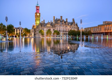 The beautiful building of Bradford town hall at city park.