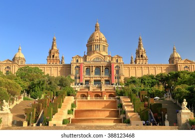 Beautiful building of the National Art Museum of Catalonia on a hill in Barcelona, Catalonia, Spain