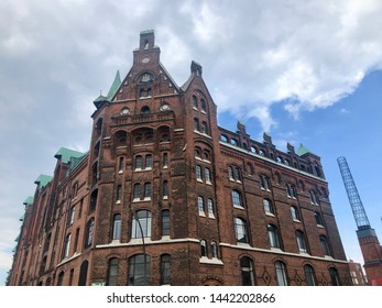 Beautiful building in the old warehouse district (Speicherstadt) in Hamburg, Germany. The largest warehouse district in the world is located in the port of Hamburg within the HafenCity quarter and is
