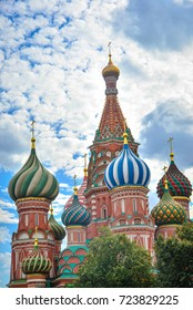 The beautiful building of Saint Basil Cathedral in Moscow, Russia