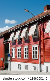 beautiful building at urban street in Lillehammer, Oppland, Norway