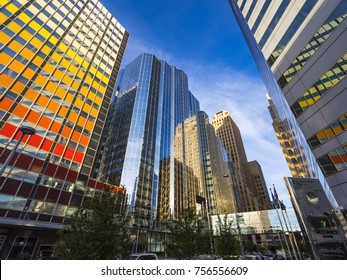 Beautiful buildings at Downtown Oklahoma City - OKLAHOMA CITY / OKLAHOMA - OCTOBER 18, 2017