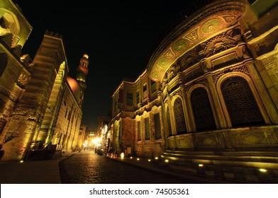 Beautiful buildings of Islamic Cairo at night. Cairo, Egypt