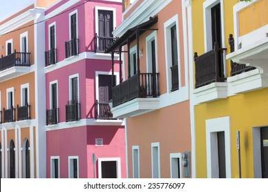 Beautiful buildings in Old San Juan representing the colorful colonial style architecture of Puerto Rico