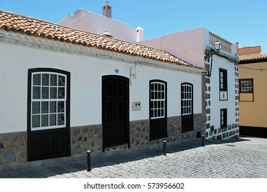Beautiful buildings in a street in Puerto de la Cruz in Tenerife (Canary Islands, Spain, Europe)