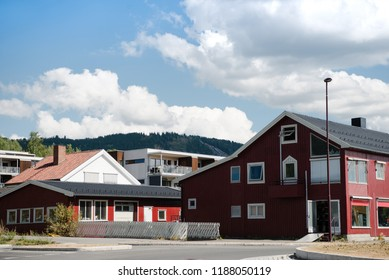 beautiful buildings under cloudy blue sky in Lillehammer, Oppland, Norway