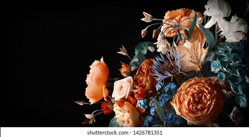 Beautiful bunch of colorful flowers on black background in vintage style.  Festive flowers concept with copy space.