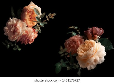 Beautiful bunch of colorful roses flowers on black background. Festive flowers concept. Floral vintage card with flowers.