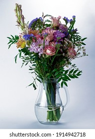 Beautiful bunch of flowers in a glass jar