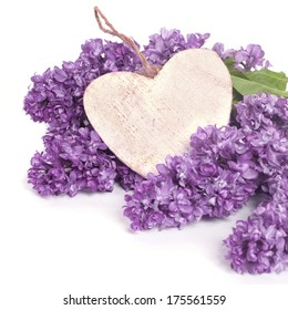 Beautiful Bunch of Lilacs with wooden heart.