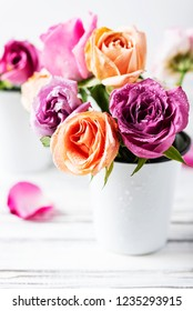 Beautiful bunch of pink roses, selective focus