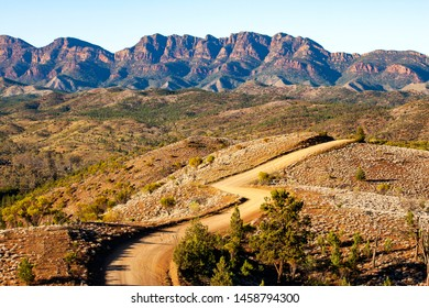 The beautiful Bunyeroo Valley in South Australia's Flinders Ranges looking towards the walls of Wilpena Pound - a popular tourist and camping destination.