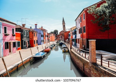Beautiful Burano with Colorful Houses Along Canal