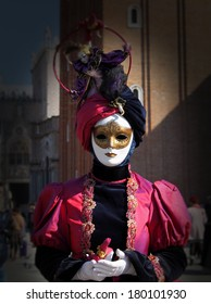 beautiful burgundy color mask at the Venice Carnival