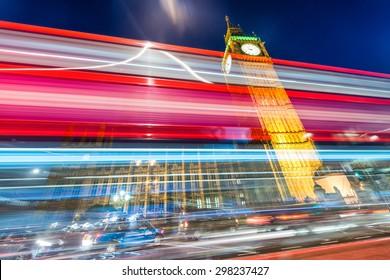 Beautiful bus light trails under Big Ben, London.