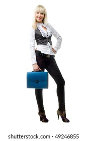 Beautiful business girl with blue plastic case on white background is insulated