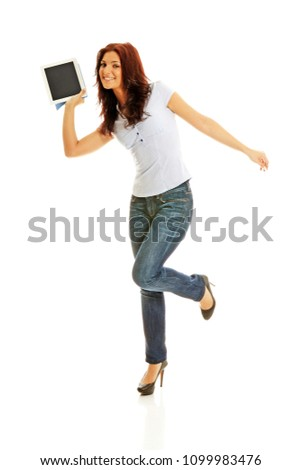 Beautiful business lady showing good offer on a tablet device