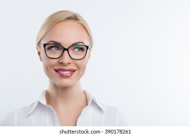 Beautiful business lady is thinking about future