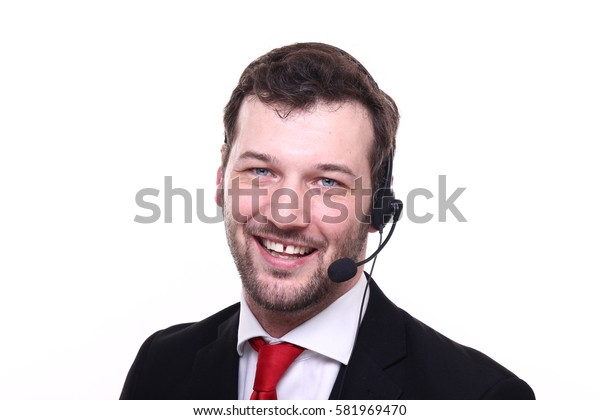 Beautiful business man with a headset