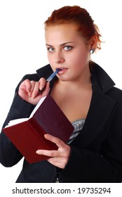 beautiful business woman in black suit with notebook